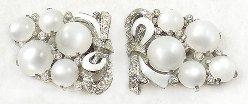 Dress & Fur Clips - Coro White Moonglow Dress Clip Pair
