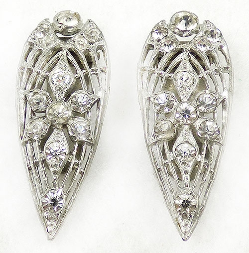 Dress & Fur Clips - Art Deco Filigree Rhinestone Dress Clip Pair
