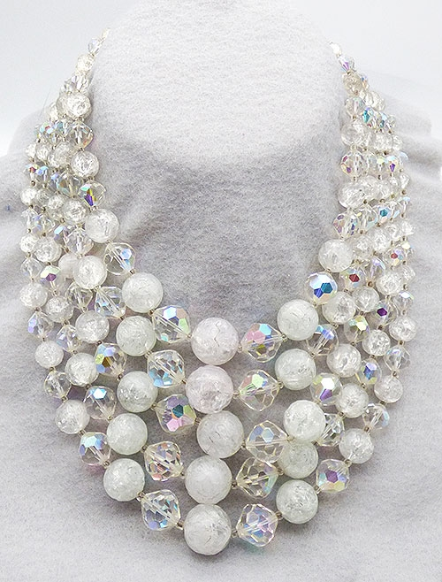 Laguna - Laguna White Crackle Glass and Crystal Necklace