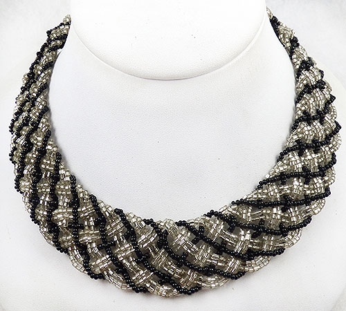 Necklaces - Laguna Black and Silver Bead Collar Necklace