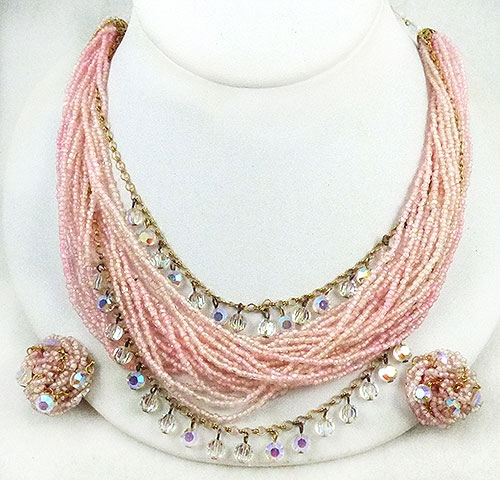 Newly Added Laguna Pink Seed Bead and Crystal Necklace Set