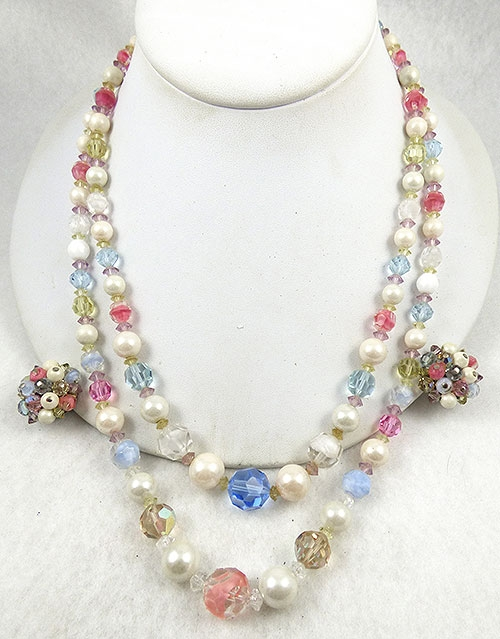 Spring Pastel Jewelry - Laguna Pearl ans Pastel Crystal Necklace Set