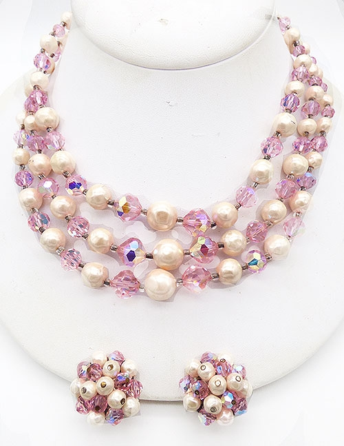 Pearl Jewelry - Laguna Pink Crystal and Pearl Necklace Set