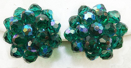 Laguna - Laguna Green Aurora Crystal Bead Earrings