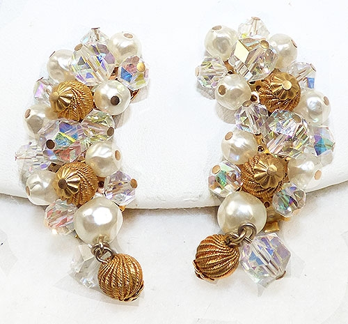 Pearl Jewelry - Laguna Pearl Crystal and Gold Bead Earrings