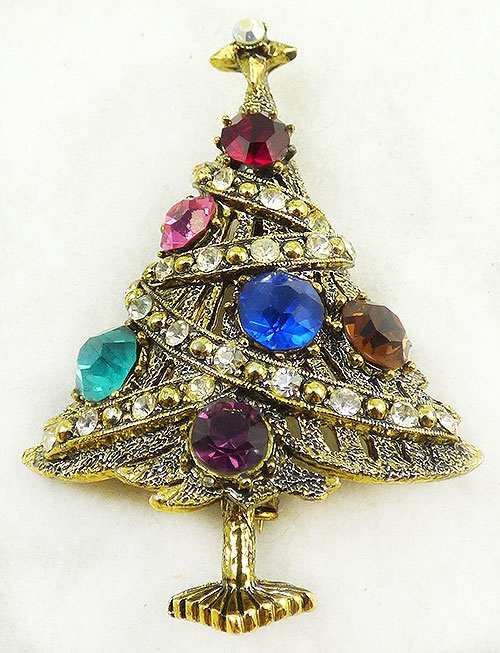 Newly Added Hollycraft Rhinestone Ornament Christmas Tree Brooch