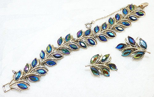 Coro/Corocraft - Coro Bermuda Blue Leaves Bracelet Set