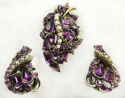 Leaves & Plants - Hollycraft Amethyst Rhinestone Leaf Brooch Set