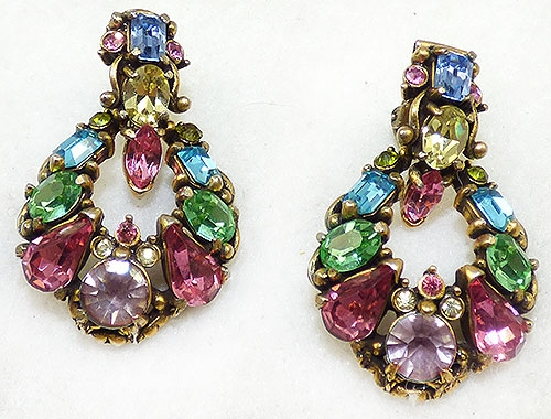 Newly Added Hollycraft Pastel Rhinestone Door Knocker Earrings