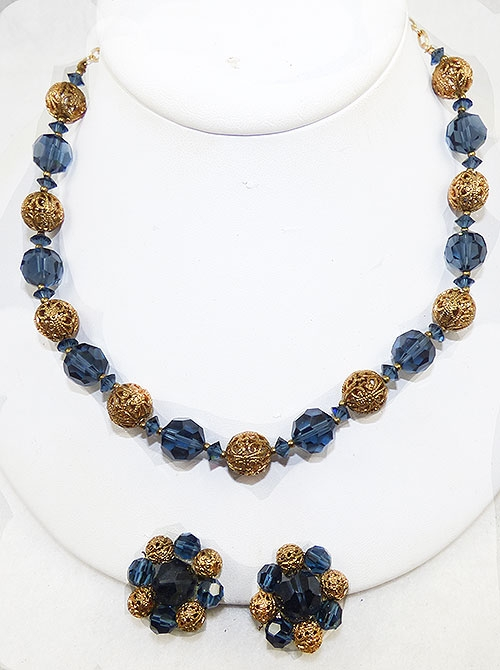 Crystal Bead Jewelry - Lisner Blue Crystal Bead Necklace Set
