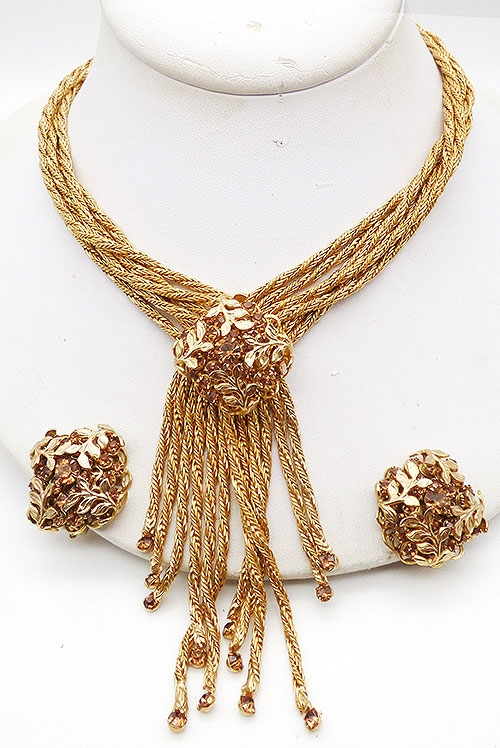 Trend 2020-2021: Tassels and Chunky Chains - Gold Chains Amber Rhinestone Tassel Necklace Set