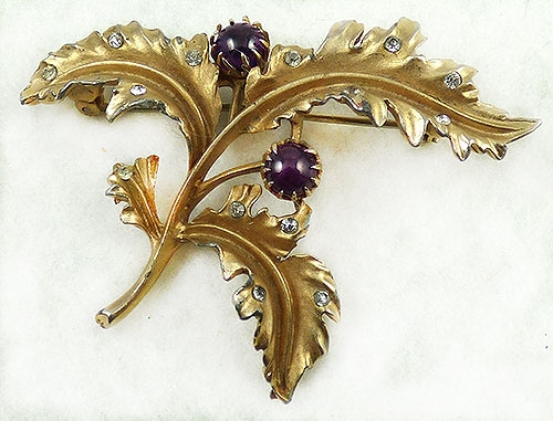 Leaves & Plants - Coro Gold Leafy Plant  Brooch