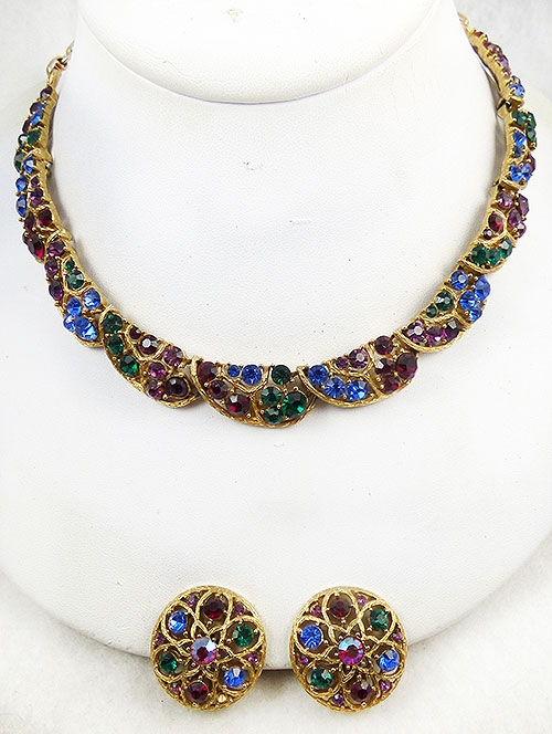 Lisner - Lisner Jewel Tone Rhinestone Necklace Earrings Set