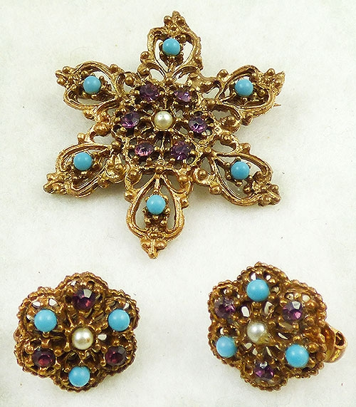 Newly Added Coro Snowflake Brooch Earring Set
