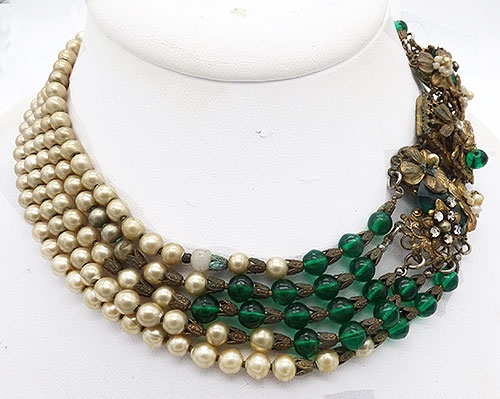 Newly Added Green Bead and Pearl 5-Strand Necklace