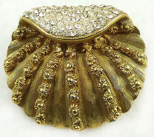 Figural Jewelry - Birds & Fish - BSK Gold Tone Clam Shell Brooch