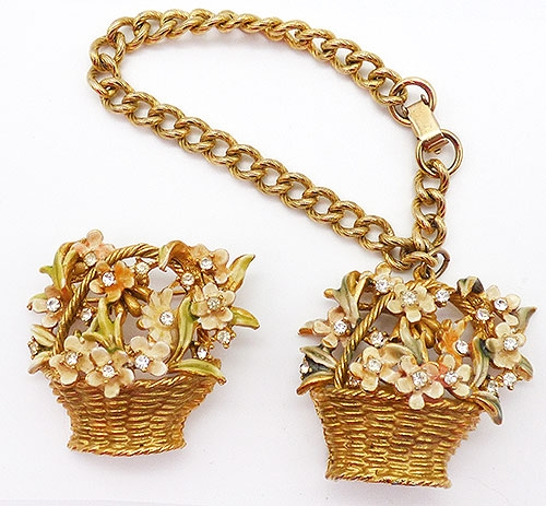 Figural Jewelry - Snakes Turtles Reptiles - BSK My Fair Lady Flower Basket Demi-Parure