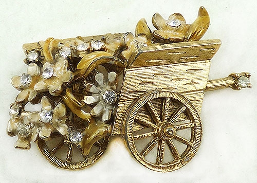 Newly Added BSK My Fair Lady Flower Cart Brooch