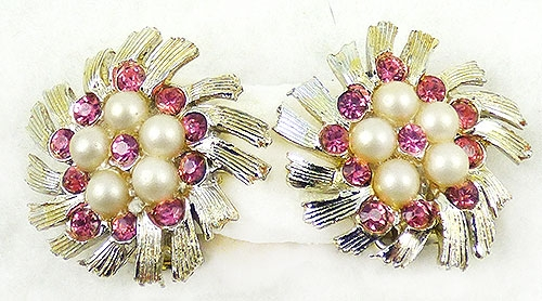 Newly Added B.S.K.Pink Rhinestone Faux Pearl Floral Earrings