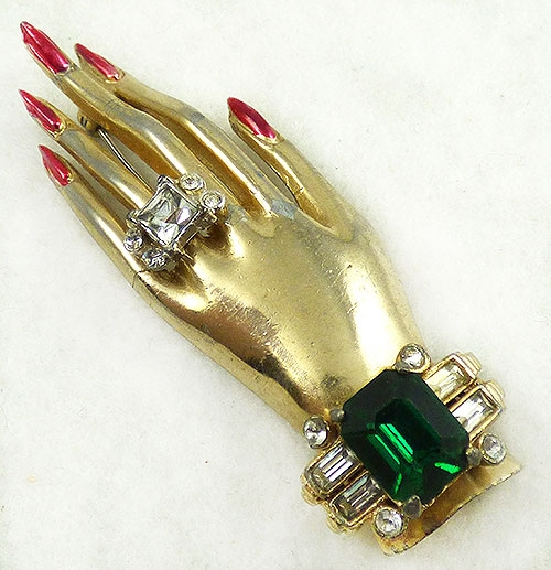 Figural Jewelry - People & Hands - Coro Jeweled Hand Brooch