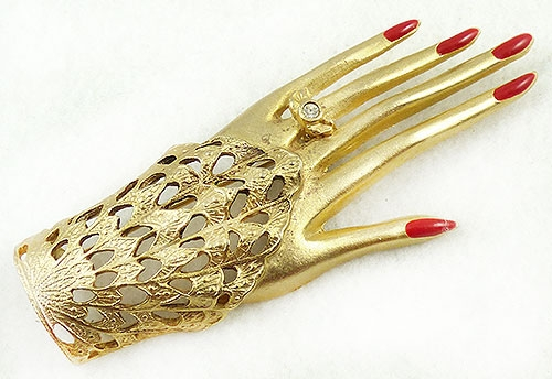 Figural Jewelry - People & Hands - Gold Filigree Lacy Sleeve Hand Brooch