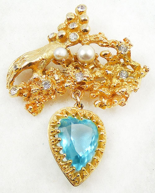 Figural Jewelry - People & Hands - Hobé Hand and Dangling Heart Brooch