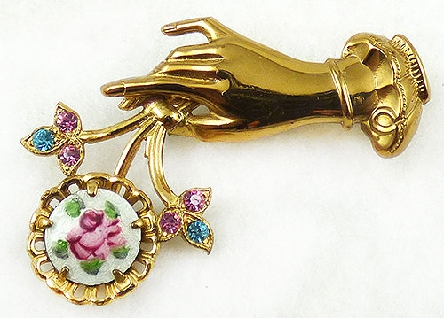 Figural Jewelry - People & Hands - Coro Hand Holding Bouquet Brooch