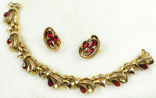 Newly Added Trifari Ruby Rhinestone Bow Bracelet Set