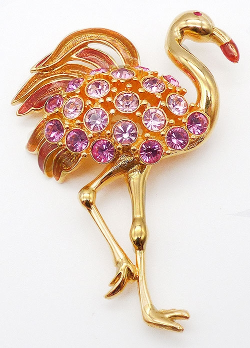 Newly Added Trifari Pink Rhinestone Flamingo Brooch