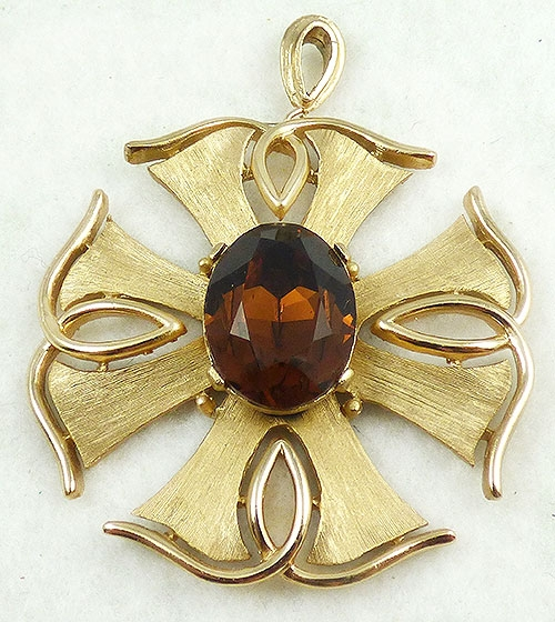 Newly Added Trifari Dark Topaz Maltese Cross Pendant