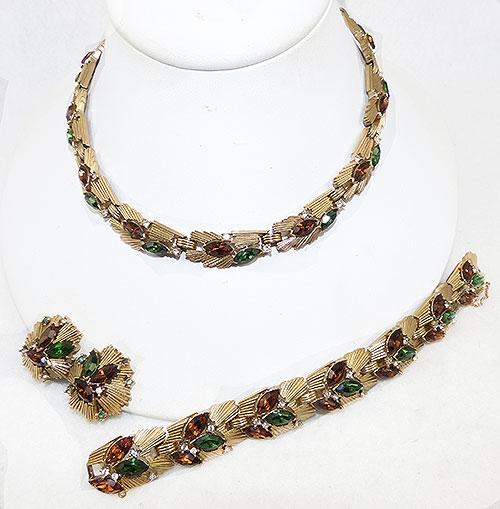 Trifari - Trifari Amber and Emerald Rhinestone Parure