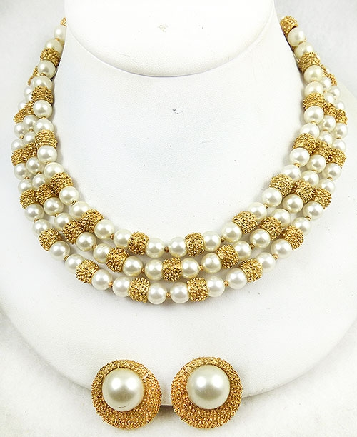 Newly Added Trifari Pearl and Gold Bead Necklace Set