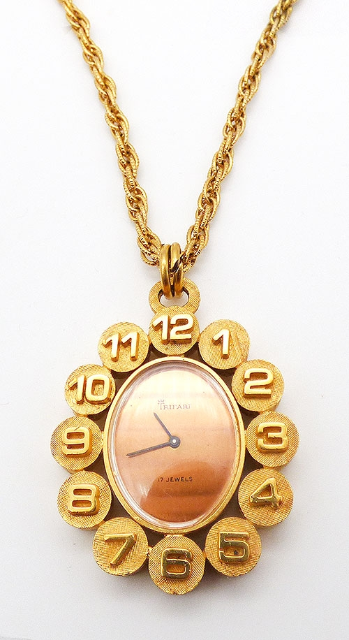 Trifari - Trifari Gold Circles Watch Pendant Necklace