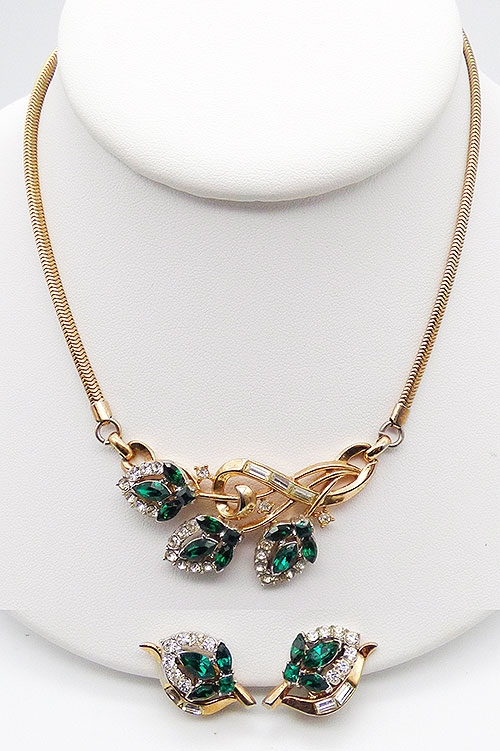 Newly Added Trifari Emerald Halo Flowers Necklace Set