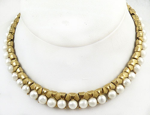 Pearl Jewelry - Trifari Faux Pearl Gold Link Necklace