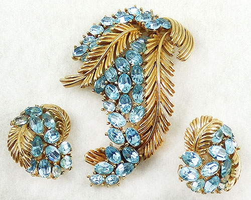 Newly Added Trifari Aqua Rhinestone Floral Brooch Set