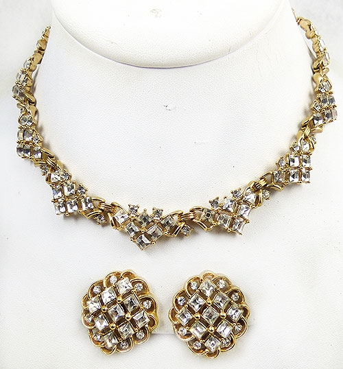 Newly Added Trifari Gold Square Rhinestone Necklace Set