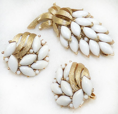 Florals - Trifari White Navette Flower Brooch Set