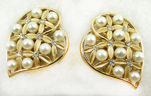 Newly Added Trifari Heart Leaf Pearl Earrings