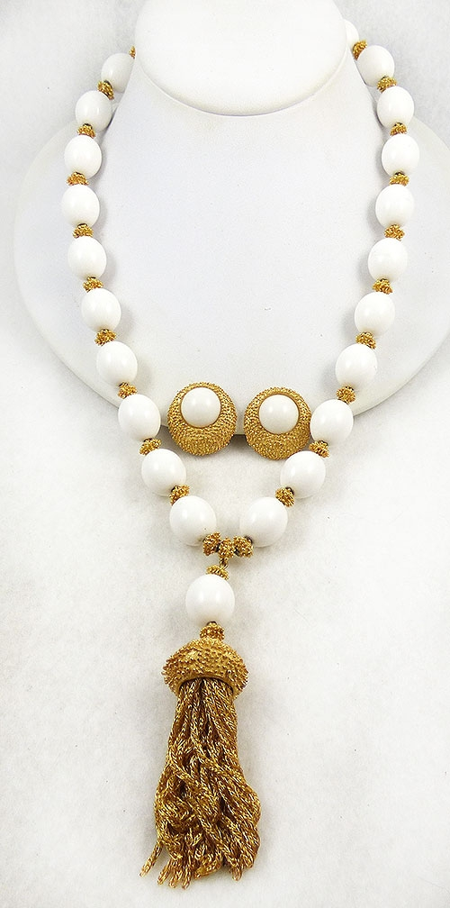 Necklaces - Trifari White Bead Tassel Necklace Set