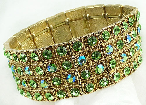 Newly Added Light Green Rhinestone Stretch Bracelet