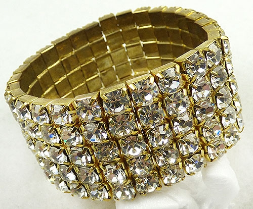 Collectible Contemporary - Crystal Rhinestone Wide Stretch Bracelet