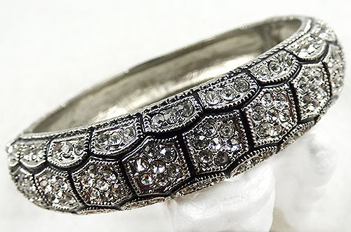 Collectible Contemporary - Crystal Rhinestone Hexagons Clamper Bracelet