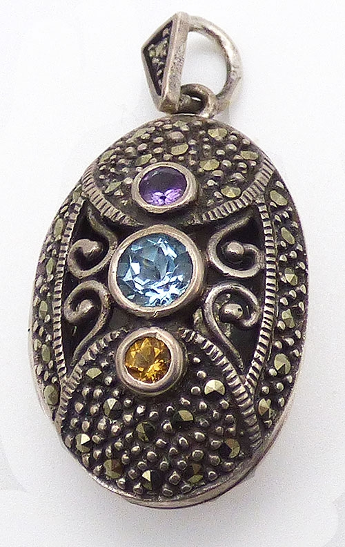 Lockets - Thai Sterling Marcasite Jeweled Locket
