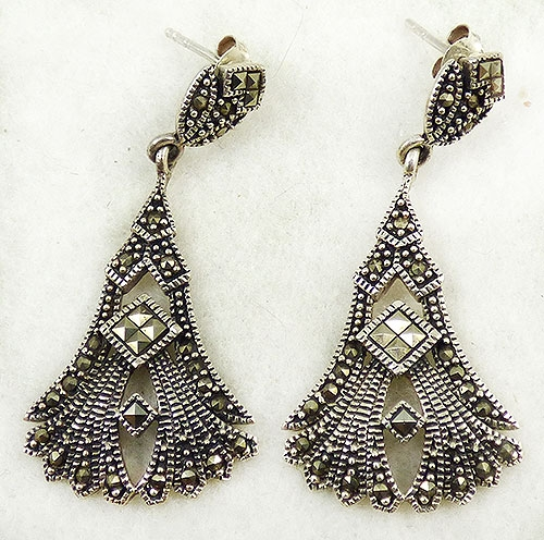 Newly Added Chapal-Zenray Sterling Marcasite Wings Earrings