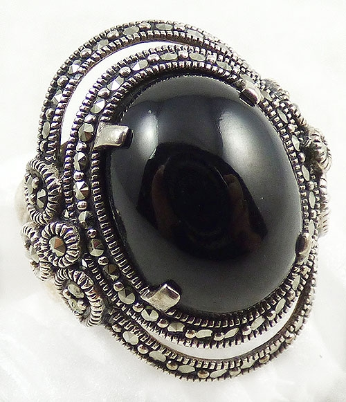 Newly Added KK Thailand Sterling Marcasite Onyx Ring