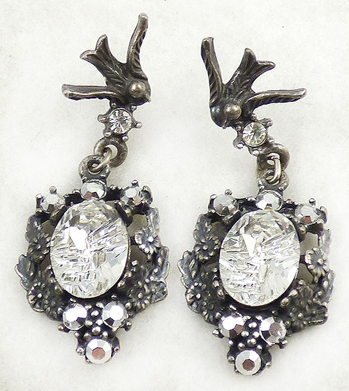 Newly Added Silver Bird and Flowers Etched Crystal Earrings