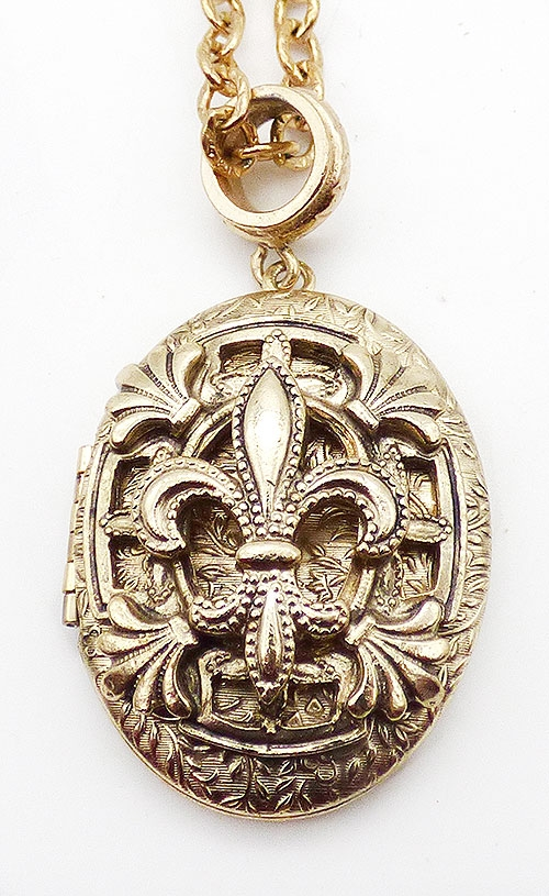 Newly Added Whiting & Davis Fleur de Lis Locket Necklace