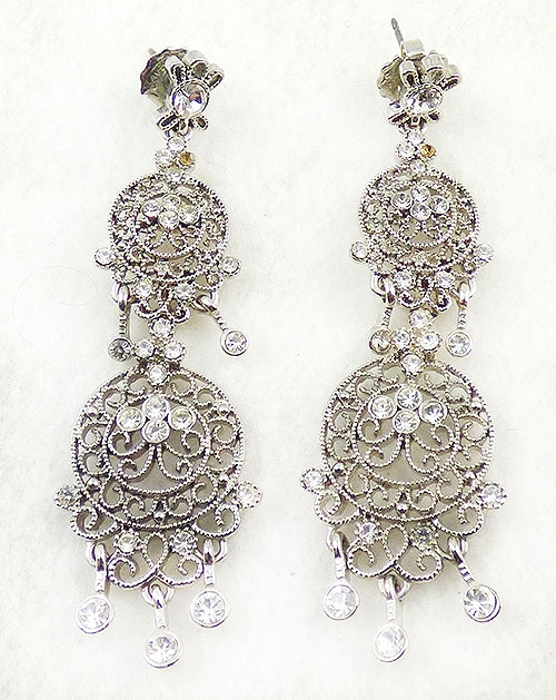 Newly Added Kenneth Lane KJL Silver Filigree Earrings