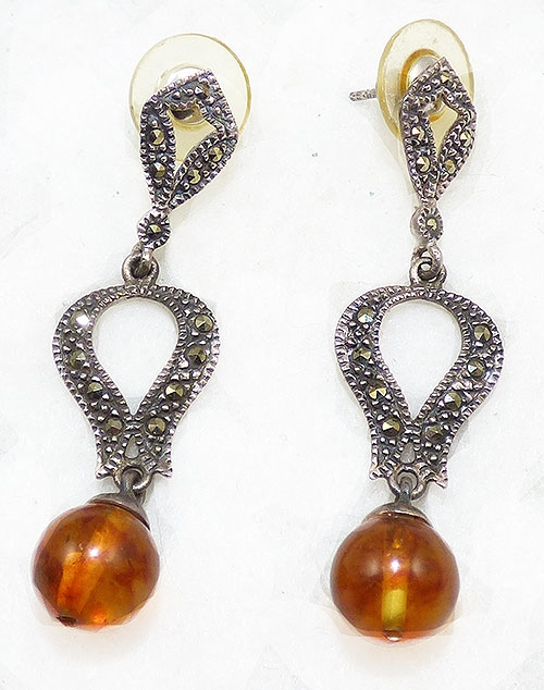 Newly Added Sterling Marcasite Amber Bead Earrings